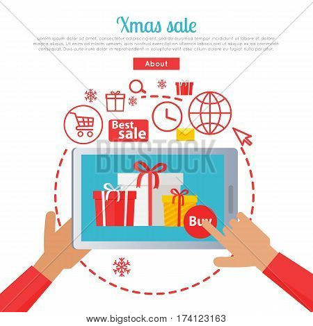 Hands holding tablet with xmas best sale. Process of buying presents via the Internet. E-commerce business, New Year seasonal sale in cartoon style. Vector web banner illustration in flat design.