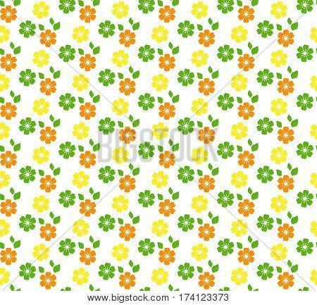 Seamless bright summer pattern with flowers isolated on white background