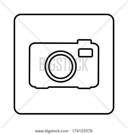 monochrome contour square with analog camera icon vector illustration