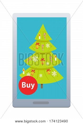 Buying nice green New Year fir tree online on white background. Vector illustration of buying green Christmas tree with help of modern gadgets in Internet. Decorated by bells snowflakes and canes.