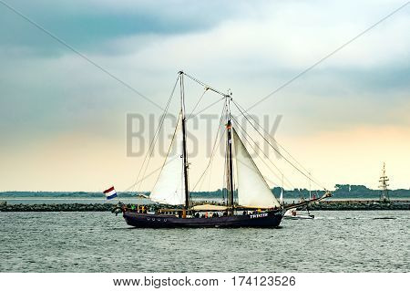 Rostock, Germany - August 2016: Sailing ship Twister on the sea. Tall Ship.Yachting and Sailing travel. Cruises and holidays