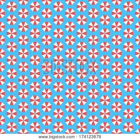 Summer seamless pattern with umbrellas isolated on blue background