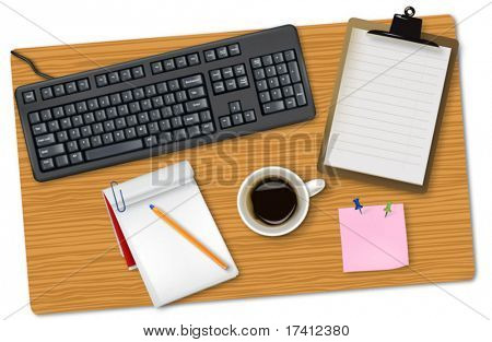 Grey keyboard and office supplies laying on the board. Vector.