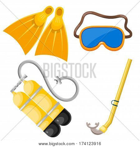 Vector set of abstract objects for diving. Mask snorkel scuba fins. Cartoon diver subjects. Stock vector