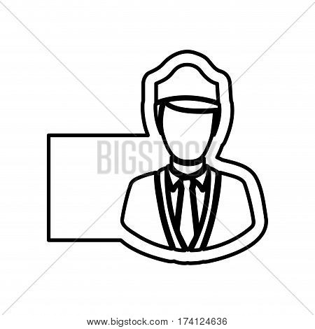 monochrome contour with flight attendant and banner vector illustration
