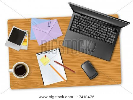 Notebook, phone and office supplies, laying on the board. Vector.