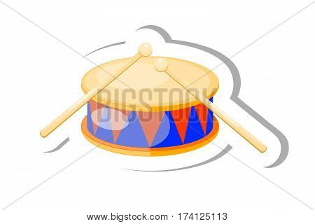 Color vector Cartoon musical instrument drum on a white background. Stock vector illustration