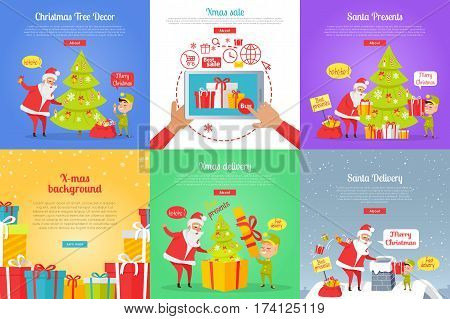 Collection of christmas vector illustrations with Santa Claus and gnome decorating xmas tree and throwing presents in chimney. Colourful poster with online buying gifts and sending spruce in box.