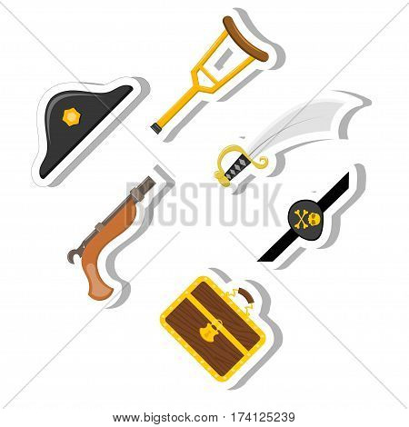 Set Cartoon Abstract Cartoon pirate items on a white background. Stock vector