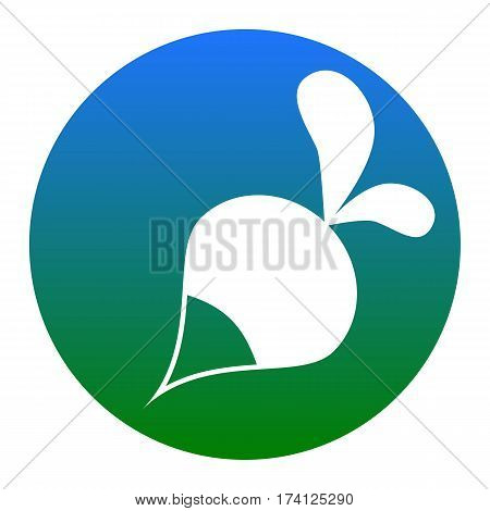 Radish simple sign. Vector. White icon in bluish circle on white background. Isolated.