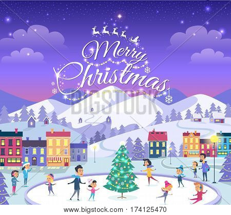 Merry Christmas. Cartoon people of different ages on icerink. Christmas entertainments in decorated city in winter. Vector illustration of people spending New Year holidays outdoors in flat style.