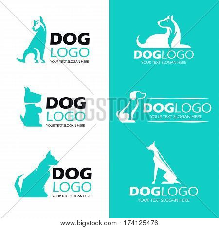 Dog sit logo pet logo vector set design