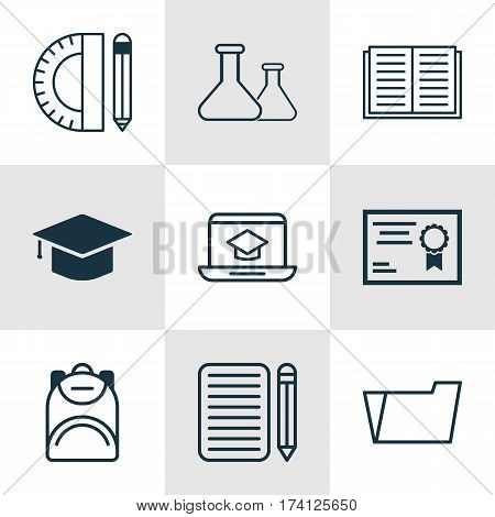 Set Of 9 Education Icons. Includes Opened Book, Document Case, Haversack And Other Symbols. Beautiful Design Elements.