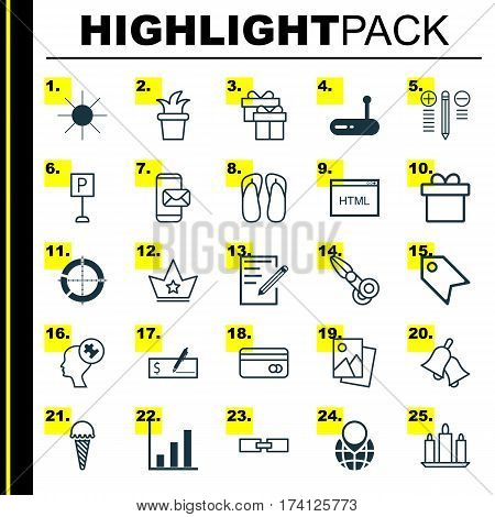 Set Of 25 Universal Editable Icons. Can Be Used For Web, Mobile And App Design. Includes Elements Such As Pin Earth, Landscape Photo, Sunshine.