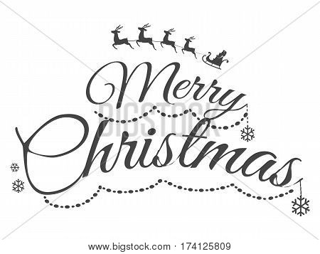 Colourless Merry Christmas greeting card with calligraphy black letters. Vector cartoon illustration with symbol of Santa Claus on sledge with many deers and different snowflakes in flat design.