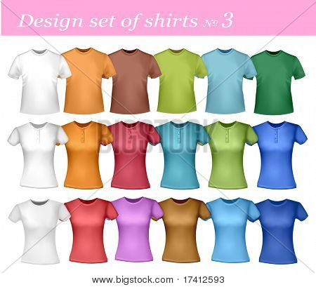 White and colored men and women polo shirts. Photo-realistic vector illustration.