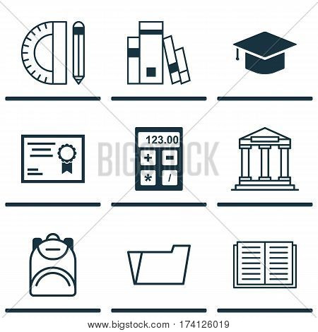 Set Of 9 School Icons. Includes Graduation, Haversack, Certificate And Other Symbols. Beautiful Design Elements.