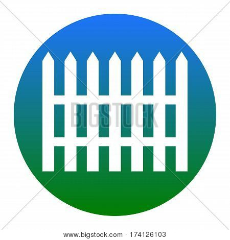 Fence simple sign. Vector. White icon in bluish circle on white background. Isolated.