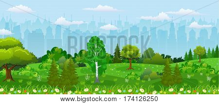 Modern city view. Cityscape with office and residental buildings, city park with trees and flowers, sky and clouds. Vector illustration in flat style