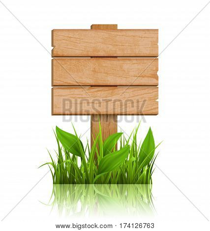 Wooden Signpost with Grass and Reflection on White Background