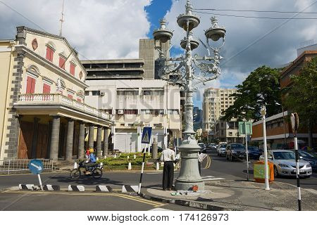 PORT LOUIS, MAURITIUS - NOVEMBER 29, 2012: View to the street with pedestrian crossing in downtown Port Louis, Mauritius.