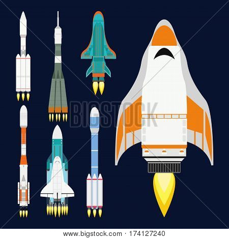 Vector technology ship rocket cartoon design for startup innovation product and cosmos fantasy space launch graphic exploration. Flight travel sky concept futuristic speed spacecraft galaxy sign.