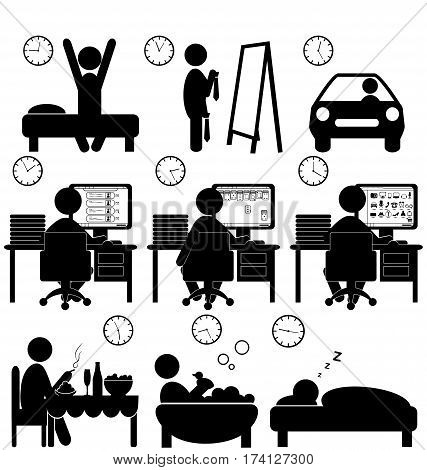 Set of flat situation icons with lazy worker isolated on white background
