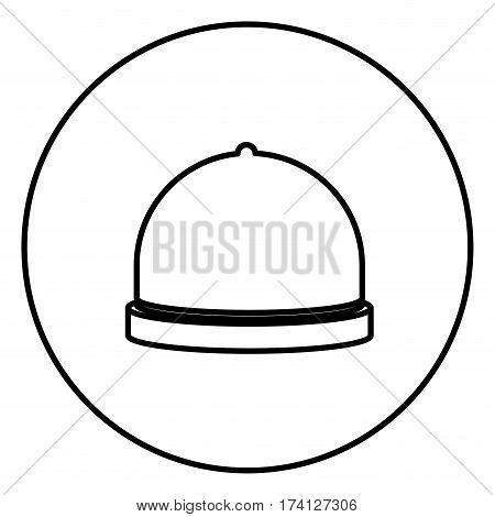 monochrome contour circular frame with cloche icon food vector illustration