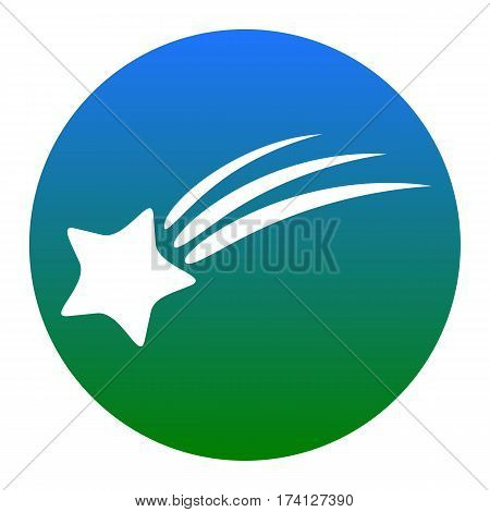 Shooting star sign. Vector. White icon in bluish circle on white background. Isolated.