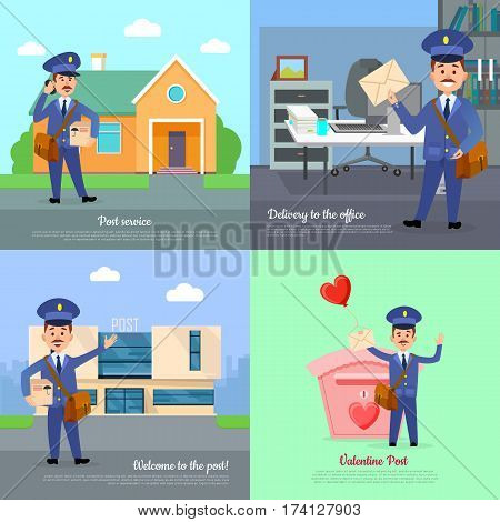Post service of delivery to the office. Welcome Valentine post. Set of postman character vector courier occupation carrier. House, office box. Cartoon style. Flat design. Vector