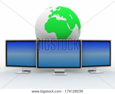 Global networking with monitor.. 3d rendered illustration