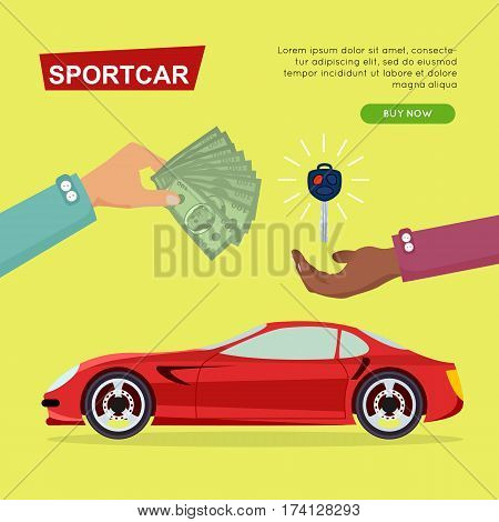 Buying sportcar online. Car sale by cash, getting new key of car web banner vector illustration. Customer buy sportcar for transport advertising company. E-commerce concept business agreement.