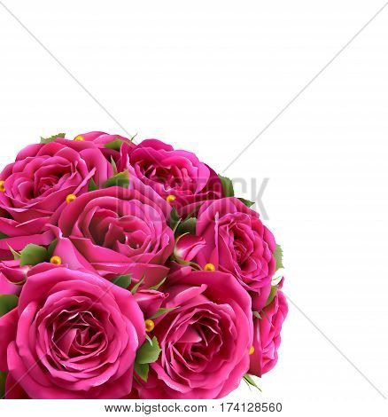 Bouquet of Roses Flowers Festive Congratulation Best Regards Concept Isolated on White Background