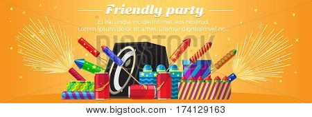 Friendly party banner fireworks for festival and party. Different kinds of amazing fireworks and salute elements vector illustration. Celebration with pyrotechnic devices, acoustic system speaker