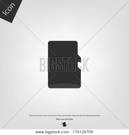 Micro SD icon, gray background. Vector illustration.