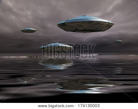 Flying saucers over the ocean. Sepia.  3D Render