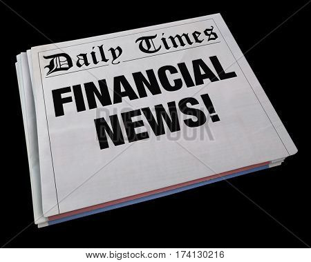 Financial News Money Headline Stock Market Update 3d Illustration