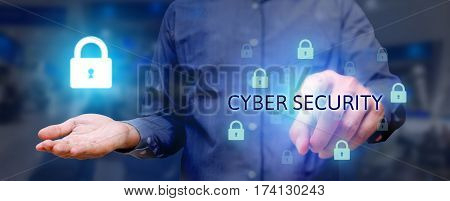 Business Man Poiting And Pressing On Button Cyber Security Button On Virtual Screens With Holding Lo