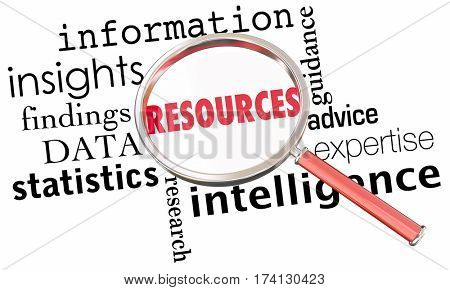 Resources Information Data Insights Facts Magnifying Glass Word Collage 3d Illustration
