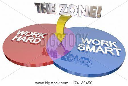 Work Hard Vs Smart The Zone Venn Diagram 3d Illustration