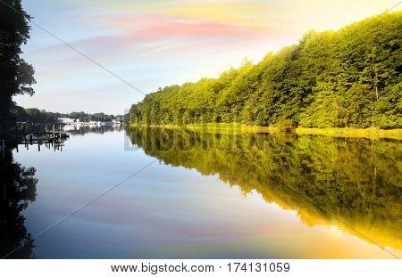 Perfect morning reflections at lake Michigan