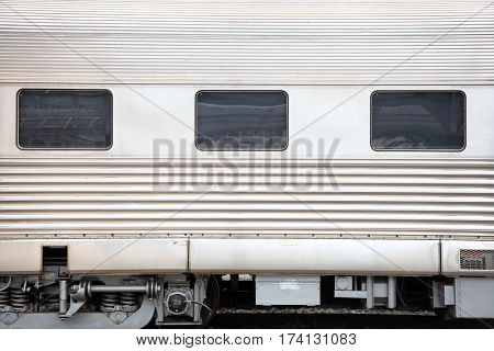 Close up shot of windows on train compartment