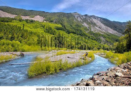 Whiter river landscape near Mount Rainier in Washington