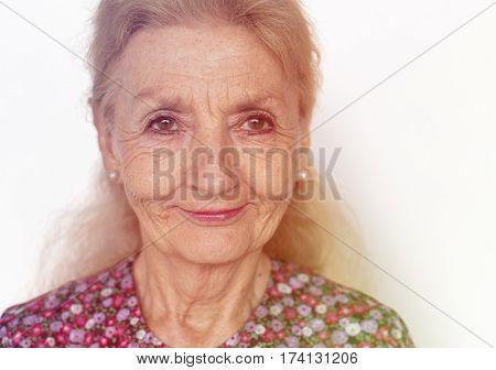 Senior Woman Smile Face Expression Studio Portrait