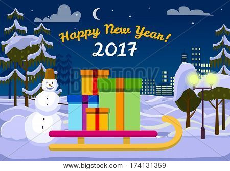 Happy New Year 2017 Santa Claus sleigh with gift boxes outdoors. Snowman behind sledge near street lamp. Tees and urban buildings on background of snow on ground. Vector evening in cartoon style