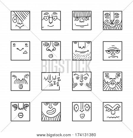 People face cartoon vector icons. Doodle avatars. Big collection of people emotions for social activities. Linear art caricatures. Fun human characters. Different expression set.