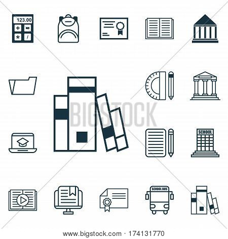 Set Of 16 School Icons. Includes Haversack, Education Center, Transport Vehicle And Other Symbols. Beautiful Design Elements.