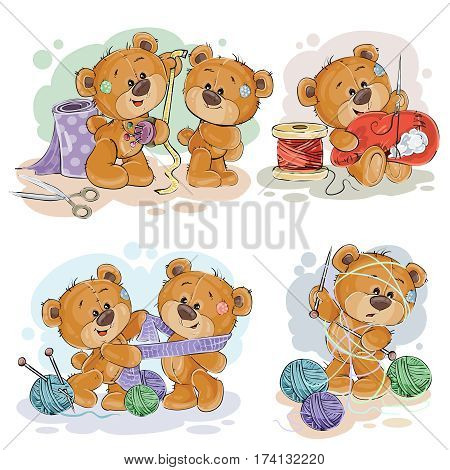 Set of vector clip art illustrations of teddy bears and their hand maid hobby - sewing, knitting