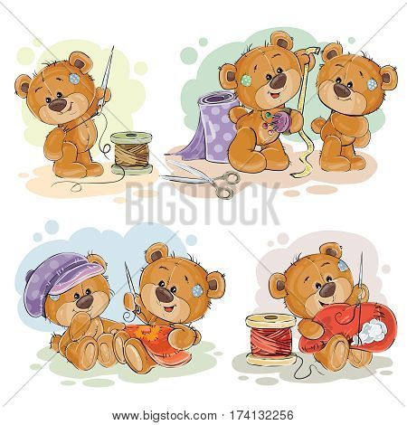 Set of vector clip art illustrations of teddy bears and their hand maid hobby - sewing, embroidery