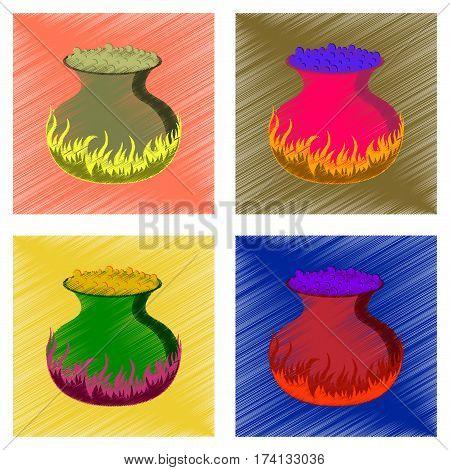 assembly flat shading style icon of potion cauldron